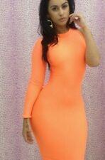 Orange One Sleeve Bodycon Dress