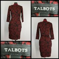 Talbots Woman Career Formal Long Sleeve Faux Wrap Dress Size XS Extra Small