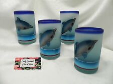 Vintage Heavy Mexican Blown Glass Dolphin Frosted Tumblers Hand Painted Set of 4