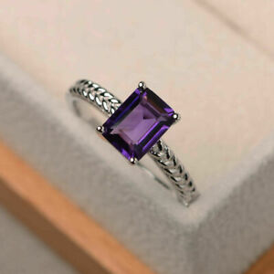 1.43 Ct New Real Amethyst Wedding Band Sets 14K Solid White Gold Size M N O P Q