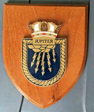Vintage HMS Jupiter Painted Royal Navy Ship Badge Crest Shield Plaque