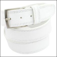 Cintura Uomo vera Pelle Bianca Cinta Donna in Cuoio Sportiva Casual di da 4 cm r