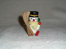 Vintage Wood Wooden Christmas Ornament Snowman with Skis