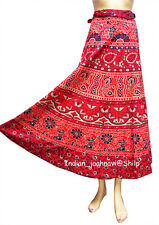 Rapron Ethnic Around Long Skirt Wrap Gypsy Cotton Indian Art Mandala Print Women