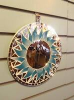Blue Sun Mosaic Tile Wall Mirror 30cm x 30cm (12 inches) New Handmade Fairtrade