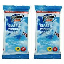 Glass and Window Wipes | Streak Free & No Smears | 2 x 30 Cleaning Wipes | Shiny