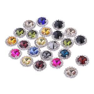 20Pcs Sew On Glass Rhinestones Flatback Jewelry Button Embellishments