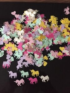 300 Pastel Unicorn & hearts table top confetti- baby shower Christening -card