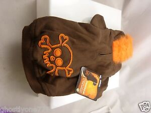 skull Mohawk orange brown hoodie costume dog pet clothes Halloween outfit doggy