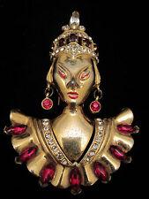 "Huge 4"" Vtg Signed Reinad Gold Tone Red Asian Princess Rhinestone Fur Clip A45"