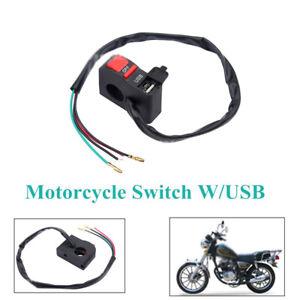 Motorcycle Spot Light On/Off Kit Handlebar Headlight Fog Switch W/USB Charger