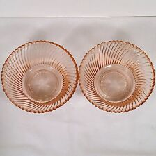 """(2) Rare Diana Pink 5"""" Cereal Bowls by Federal Glass Company No Reserve!"""