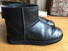 Ladies Black Leather Ugg Boots Size 7.5