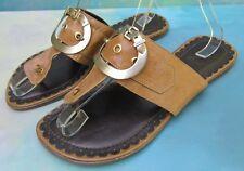 Luz da Lua Chestnut Leather Brass Buckle Thong Sandals Slides Wms 9 Brazil