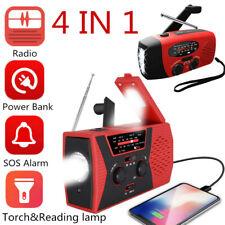 Emergency Solar Radio Hand Crank Power AM/FM/NOAA LED Light SOS Alarm Power Bank