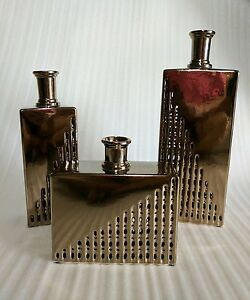 Set of 3 X GOLD vases RRP over $500! home decor SALE modern