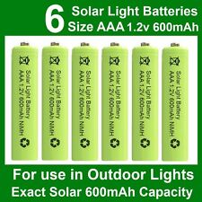 6 x AAA 1.2V 600mAh NiMH Rechargeable Batteries for Garden Solar Lights (NiCd)