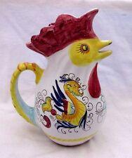 """Williams Sonoma Raffaelllesco Deruta Ceramic Chicken Rooster Pitcher 9"""" Italy"""