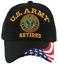 NEW! US ARMY RETIRED SIDE FLAG BALL CAP HAT BLACK
