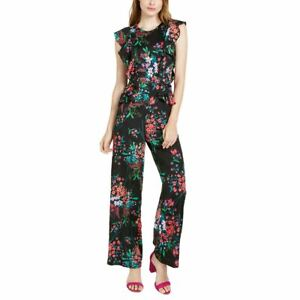 TRINA TURK NEW Women's Black Multi Floral-print Ruffled Jumpsuit 0 TEDO