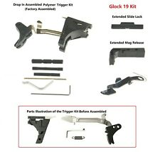 New Glock 19 Lower Part Kit Polymer Trigger Both Extended Release and Slide Lock