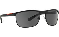 New Prada PR54QS DG0-1A1 Black Frame Grey Lens Unisex Square Metal Sunglasses