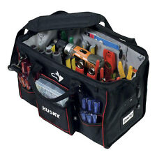 Husky 18 in. Large Canvas Tool Bag Electrician Heavy Duty Storage Organizer Tote