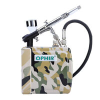 OPHIR 100-240V Airbrush Compressor Kit Set with Dual-Action Airbrushing System