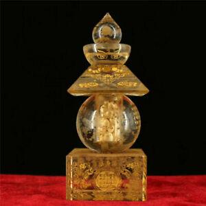 Collection Old Temple crystal gilt Scripture Sharipu Stupa Sarira Buddha relic