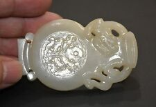 """Finely Chinese Qing Dy Nephrite Jade Carved Dragon Design Back """"Qin"""" Belt buckle"""