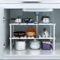 Under Sink 2 Tier Expandable Shelf Organizer Rack Storage Kitchen Tool Holders