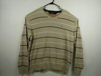 Mens Tommy Hilfiger XL Beige Striped 100% Cotton Pullover V-Neck Sweater
