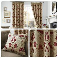 Curtina - BURFORD - Floral Jacquard Pencil Pleat Curtains & Cushions Collection