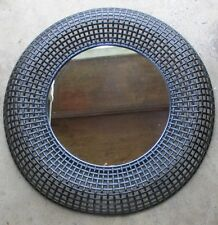 "ROUND WOVEN LOOK BROWN PLASTIC WALL MIRROR 23"" IN DIAMETER"