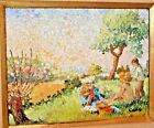 """Yvonne Canu French Artist Landscape Scene Titled """"Pique-Nique"""" Oil on Canvas"""