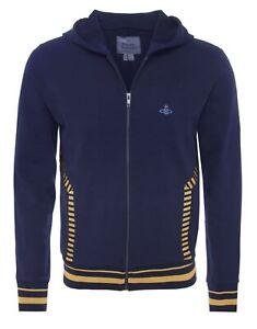 Vivienne Westwood Men's Navy Orb Chest Logo Felpa Hoodie Zip Sweatshirt Size XL
