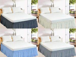 Wrap Around Bed Skirt Elastic Dust Ruffle Queen/Olympic Queen/Short Queen Size