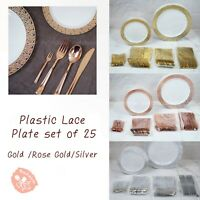 150 PCS Plastic Plate Fork Knife Spoon Set Lace Rim Dinner Party Wedding 3colors