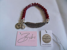 BIBI BIJOUX DEEP RED FACETED BEAD FEATHER BRACELET - BNWT