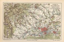 FRANKFURT + Umgebung Homburg Vilbel Offenbach Hedernheim Feldberg Landkarte 1894