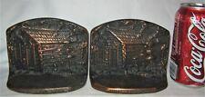 ANTIQUE LINCOLN CABIN CJO JUDD 9678 CAST IRON BUST ART STATUE SCULPTURE BOOKENDS