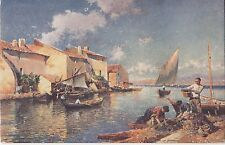 CL50.Vintage Postcard. Smiling Shore. Boats in harbour. By J-G Gagliardini