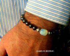 Men stone Bracelet Opal,Black Hematite,silver beads,healing stone.MEN gift