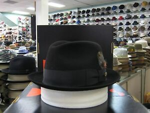 DOBBS JET BLACK FUR FELT FEDORA DRESS HAT