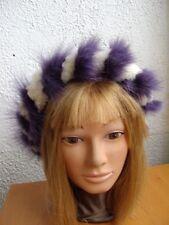 BRAND NEW PURPLE FOX AND WHITE LAMB FUR HEADBAND HEADWRAP HAIR ACCESSORY WOMEN