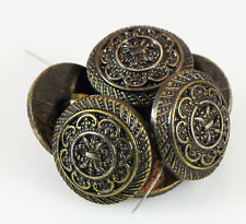 """6 Vintage Round FANCY BUTTONS Imitation Metal Made of Plastic 11/16"""""""