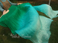 1pair light sturdy 1.5m*0.9m peacock green fading belly dance silk fan veil+bag