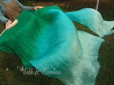 1pair light sturdy 1.5m*0.9m peacock green fading belly dance silk fan veil+bag