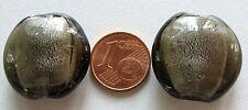 2 perles galet 25mm GRIS rond plat VERRE style Murano  feuille argentée bijoux