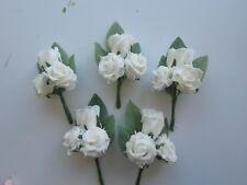5 Wedding Flowers Plain Ivory Rose Triple Buttonholes Artifical
